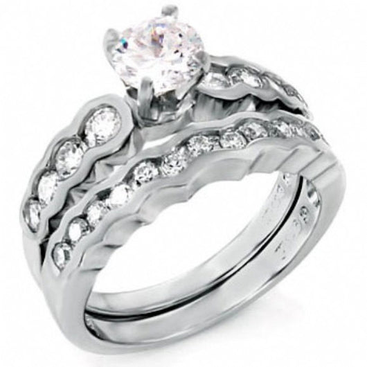 2.79ct Round Cut Wedding Ring Set Engagement Diamond Simulated CZ 925 Sterling Silver