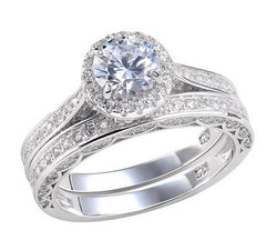 3.6c Round Cut Wedding Ring Set Engagement Diamond Simulated CZ 925 Sterling Silver Platinum ep
