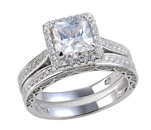 3.55ct Princess Cut Wedding Ring Set Engagement Diamond Simulated 925 Sterling Silver Platinum ep CZ