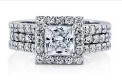 2.89ct Princess Cut Wedding Ring Set Engagement Diamond Simulated 925 Sterling Silver Platinum ep CZ