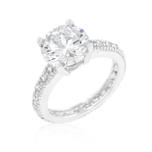 3.25C Round Cut Wedding Ring Engagement Diamond Simulated CZ 925 Sterling Silver Platinum ep