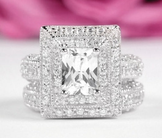 3.25c Grand Princess Cut Wedding Ring Set Engagement Diamond Simulated 925 Sterling Silver