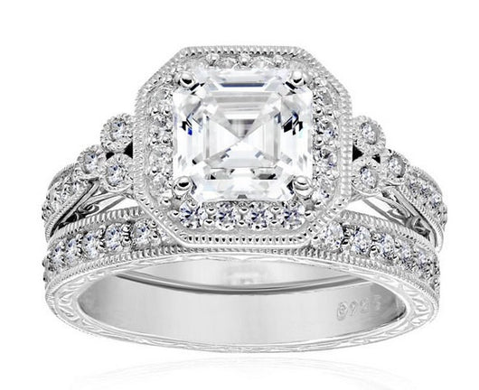 3.58ct Princess Cut Wedding Ring Set Engagement Diamond Simulated 925 Sterling Silver Platinum ep CZ