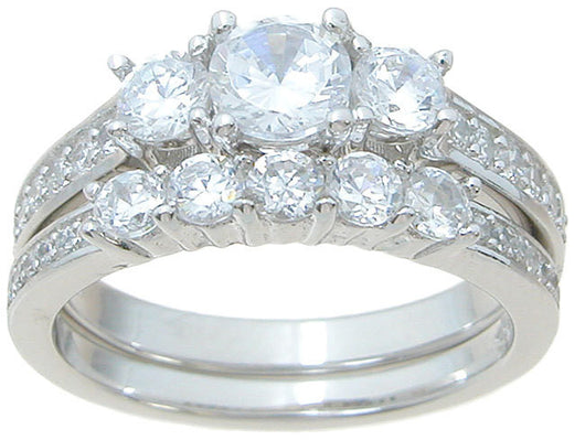 2.43C Round Cut Wedding Ring Set Engagement Diamond Simulated CZ 925 Sterling Silver
