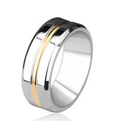 7mm Silver Gold Titanium Stainless Steel Ring Men's Wedding Band Silver