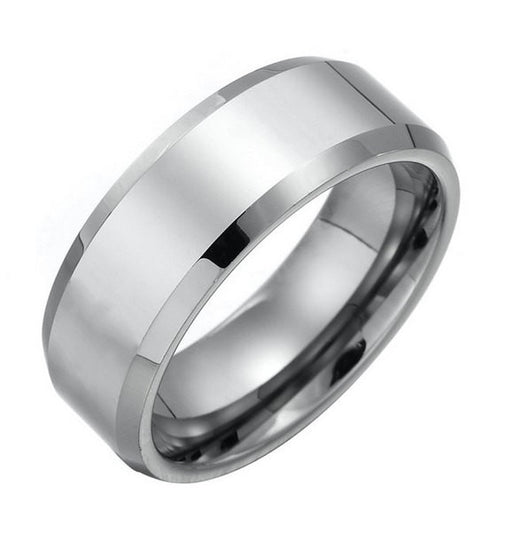 8mm Silver Tungsten Ring Men's Wedding Band Wedding Ring