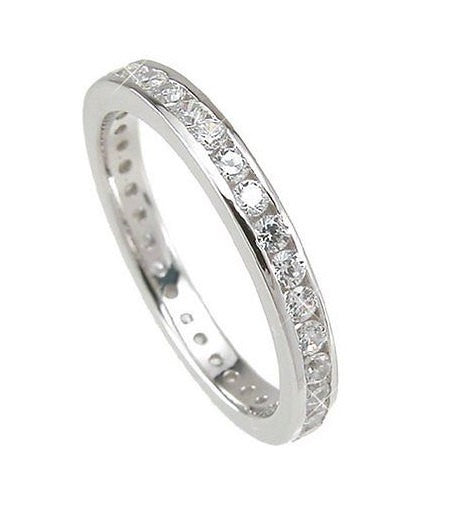2.72 Engagement Ring Eternity Wedding Band Womens Simulated Diamond 925 Sterling Silver