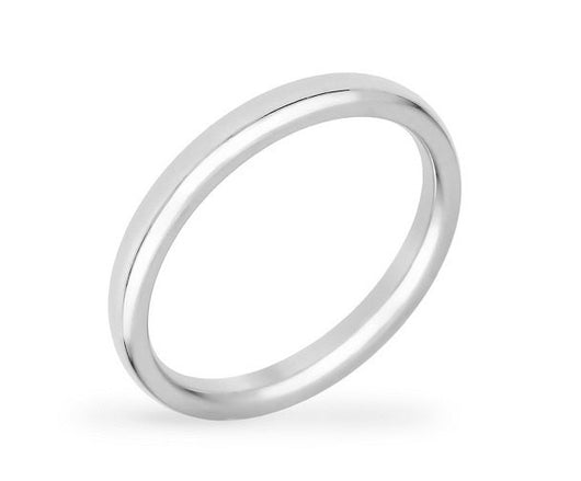 2mm Silver Stainless Steel Ring Mens Womens Wedding Band Eternity