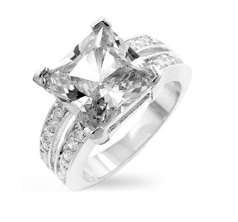 7.4C Princess Cut Wedding Ring Engagement Band Diamond Simulated 925 Sterling Silver Platinum ep