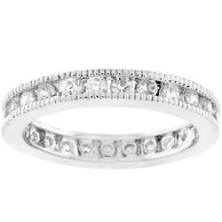 2.23 Engagement Ring Eternity Wedding CZ Band Womens Simulated Diamond 925 Sterling Silver