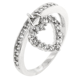 2.25 Engagement Ring Eternity Wedding Band Womens Simulated Diamond CZ Heart Charm