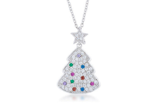 Christmas Tree Pendant w Star Multicolor .7ct and Necklace 18