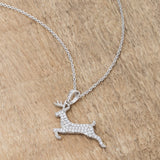 "Reindeer Pendant .35ct and Necklace 18"" Drop Women's Diamond Simulated Cubic Zirconia CZ Holiday"