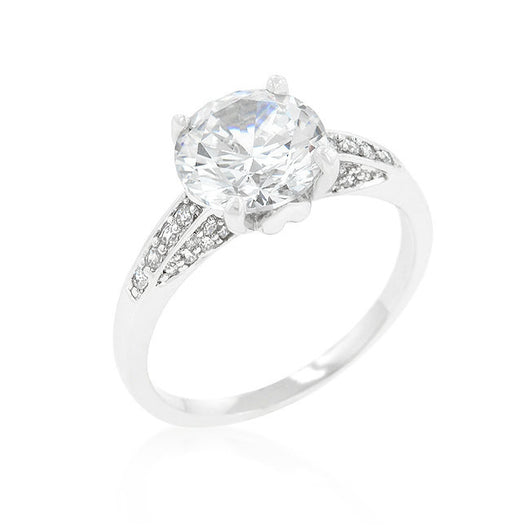 3.88c Round Cut Wedding Ring Engagement Diamond Simulated CZ 925 Sterling Silver Platinum ep