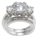 3.51c Round Cut Wedding Ring Set Engagement Diamond Simulated CZ 925 Sterling Silver Platinum ep