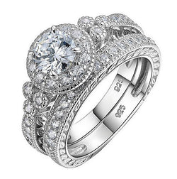 3.57c Round Cut Wedding Ring Set Engagement Diamond Simulated CZ 925 Sterling Silver Platinum ep