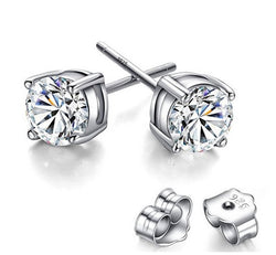 Stud Earrings 925 Sterling Silver Clear Round Cut CZ Women's Cubic Zirconia 4mm 5mm 6mm 7mm