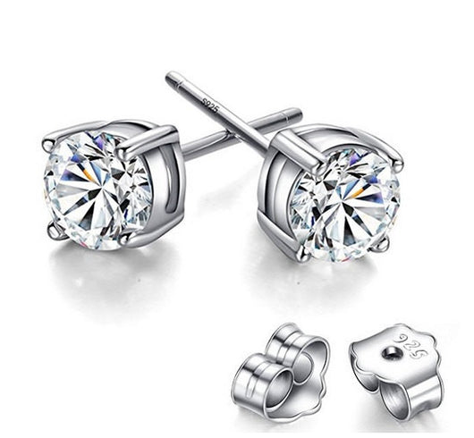 925 Sterling Silver Diamond Cut Cubic Zirconia Stud Earrings 4mm, 5mm, 6mm, Clear Stones or Black Stones