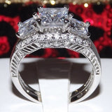 2.86ct Princess Cut Wedding Ring Set Engagement Diamond Simulated 925 Sterling Silver Platinum ep CZ
