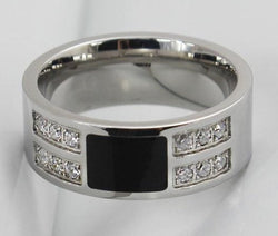 Men's 8mm Stainless Steel SILVER Black Inlay Wedding Band Engagement Ring CZ