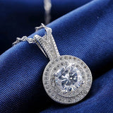 Women's Round Cluster Diamond Simulated Pendant and Necklace Set 925 Sterling Silver Wedding