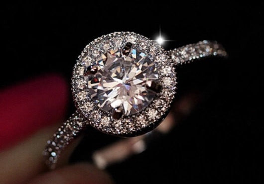 2.44c Round Cut Wedding Ring Engagement Diamond Simulated CZ 925 Sterling Silver