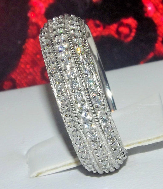 3.3ct Round Cut 3 Row Eternity Engagement Ring Wedding Band 925 Sterling Silver Platinum ep CZ