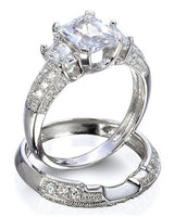 2.84ct Princess Cut Wedding Ring Set Engagement Diamond Simulated 925 Sterling Silver