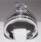 3.6ct Princess Cut Wedding Ring Set Engagement Diamond Simulated 925 Sterling Silver Platinum ep CZ