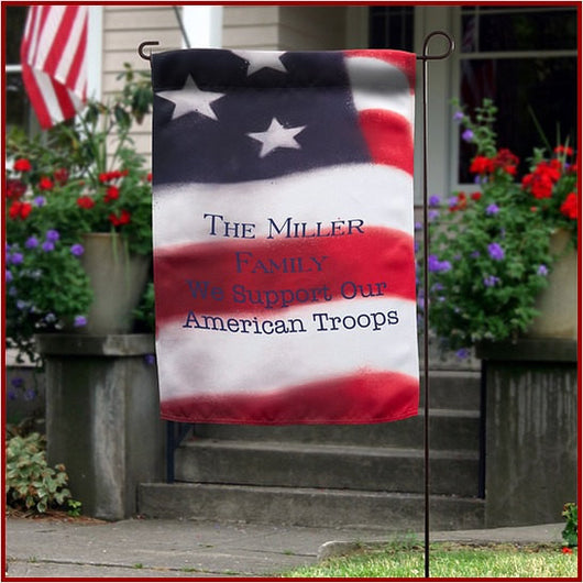 United States American Flag We Support Our Troops Personalized Yard Garden Stake Flag