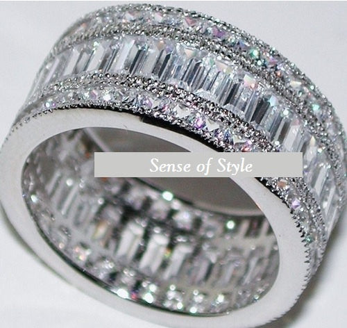 5C 3 Row Engagement Ring Eternity Wedding Band Womens Simulated Diamond 925 Sterling Silver