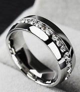 6mm Stainless Steel SILVER Wedding Band Engagement Ring Diamond Simulated Stones CZ Men's