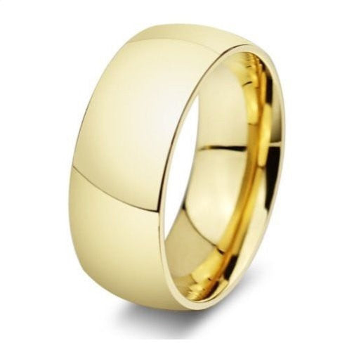 Men's 8mm Stainless Steel 18k Gold Bonded Men's Wedding Band Ring Engagement