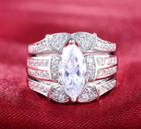3.8ct 3 PC Emerald Cut Wedding Ring Set Engagement Diamond Simulated CZ 925 Sterling Silver