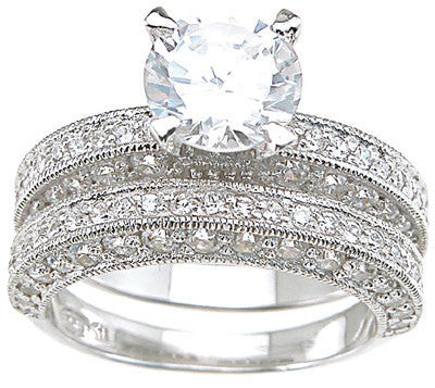 2.4ct Round Cut Wedding Ring Set Engagement Diamond Simulated CZ 925 Sterling Silver Platinum ep