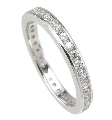 2.32 Engagement Ring Eternity Wedding Band Womens Simulated Diamond 925 SS