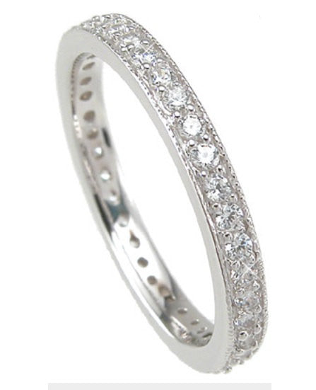 2.54 Engagement Ring Eternity Wedding Band Womens Simulated Diamond 925 Sterling Silver