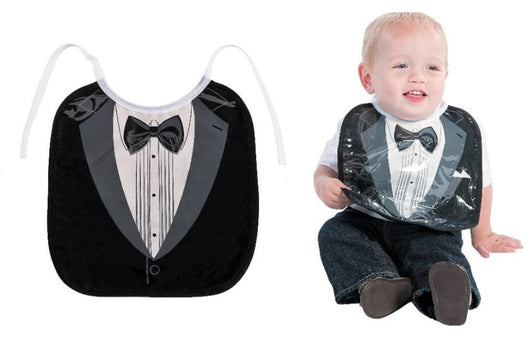 Tuxedo Bow Tie Wedding Toddler Baby Boys Bib Super Durable and Super Cute! Great Baby Shower Gift