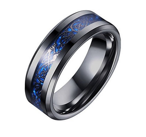 Celtic Mens Black Blue Ring Dragon Inlay 8mm Titanium BLACK Mens