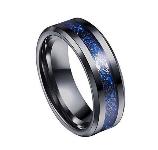celtic mens black blue ring dragon inlay 8mm titanium black mens wedding band engagement ring black - Black And Blue Wedding Rings