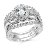 3.63ct Halo 3 Piece Wedding Ring Set Engagement Band Diamond Simulated 925 Platinum ep