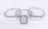 3.78ct Emerald 3 Piece Wedding Ring Set Engagement Diamond Simulated 925 Platinum ep Women's