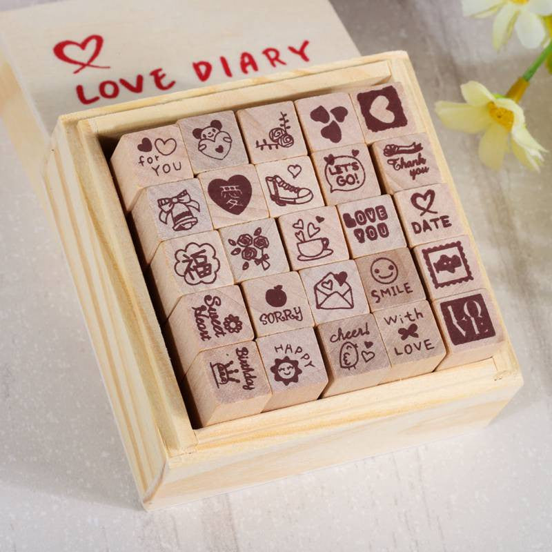 25 Pcs Pack Rubber Stamp Set With Wooden Box