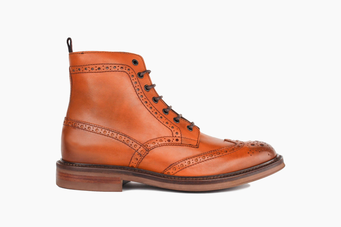 Carter Wingtip Lace-Up Boot in Cognac