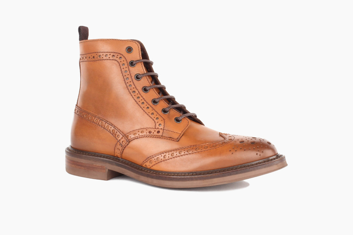 Front View of Carter Wingtip Lace-Up Boot