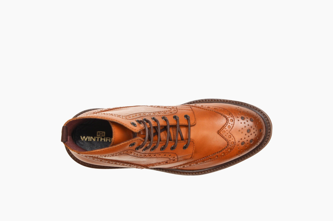 Aerial View of Carter Wingtip Lace-Up Boot