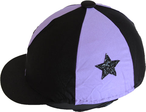Helmet cover - lilac/black with stars