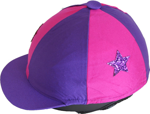 Helmet cover - purple/pink with stars