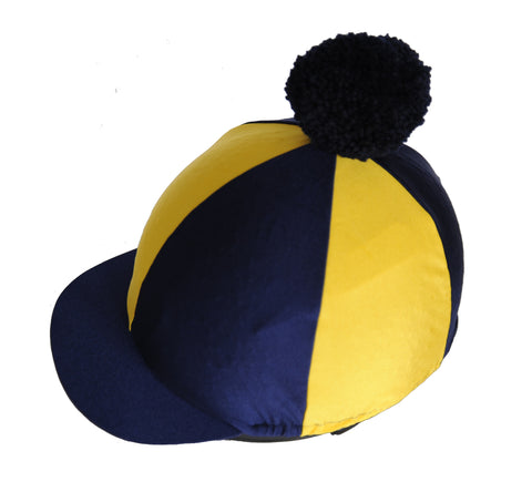 Helmet cover - navy and yellow with pompom