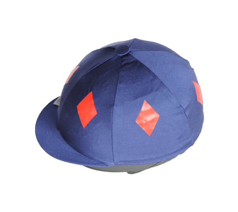 Helmet cover - navy with red diamonds